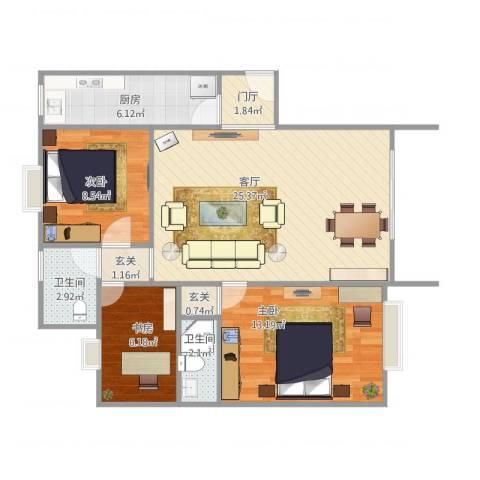 华林东盛花园二期3室1厅2卫1厨93.00㎡户型图
