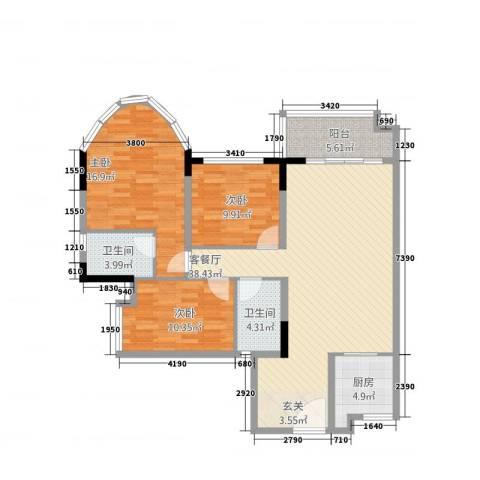 茗雅荟3室1厅2卫1厨106.87㎡户型图