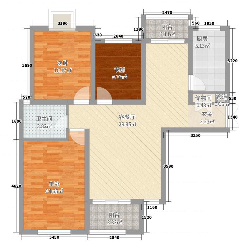 鑫苑景园111.14㎡K户型3室2厅1卫1厨