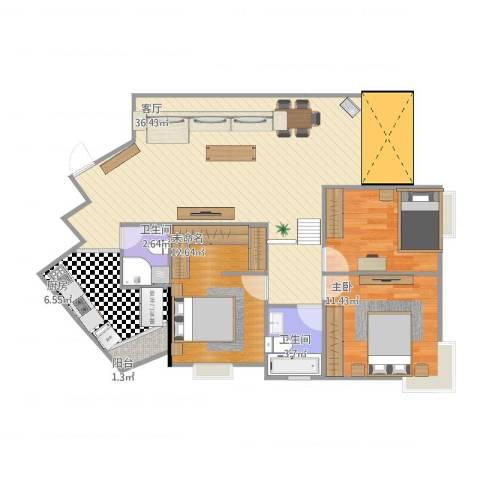 江山多娇滨江花园2室1厅2卫1厨114.00㎡户型图