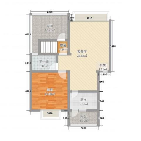 名城1室1厅1卫1厨101.00㎡户型图