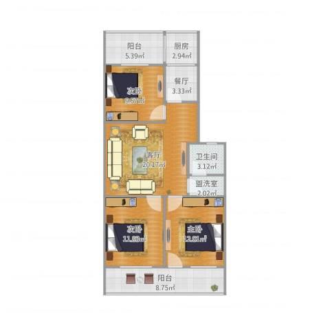制锦市小区3室3厅1卫1厨108.00㎡户型图