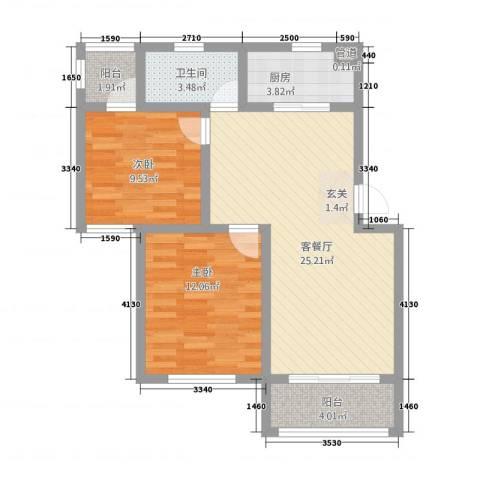 恒润新新家园2室1厅1卫1厨88.00㎡户型图