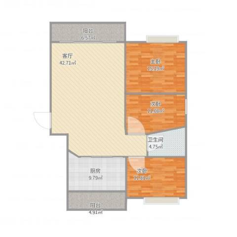 丽日豪庭3室1厅1卫1厨142.00㎡户型图