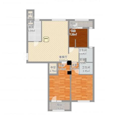 绿城皇冠花园3室1厅2卫1厨135.00㎡户型图
