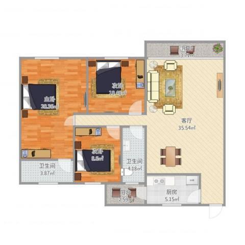 汇银城市花园3室1厅2卫1厨128.00㎡户型图