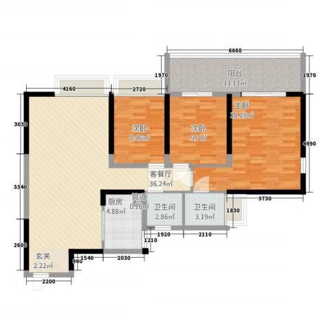 钢琴家 珠海3室1厅2卫1厨135.00㎡户型图