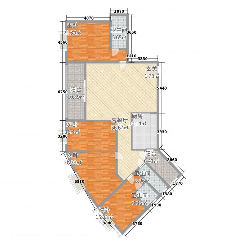 富地花园231.56㎡1栋2户型4室2厅3卫1厨