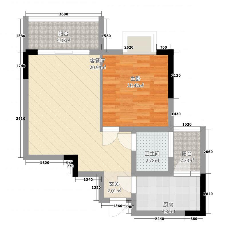 川峰龙汇雅园57.30㎡G2户型1室2厅1卫1厨