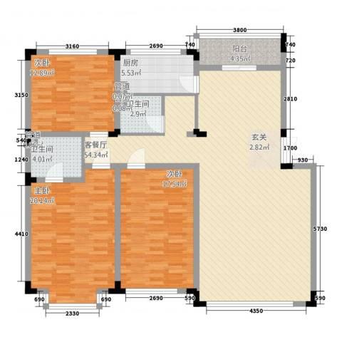 怡众名城3室1厅2卫1厨150.00㎡户型图