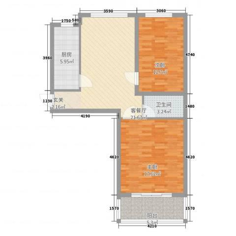 柳墅新城2室1厅1卫1厨66.47㎡户型图