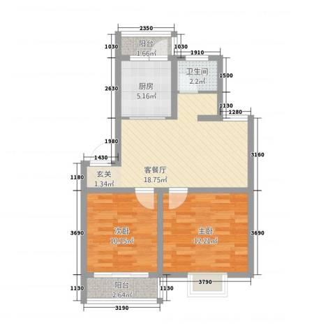 家春秋2室1厅1卫1厨76.00㎡户型图