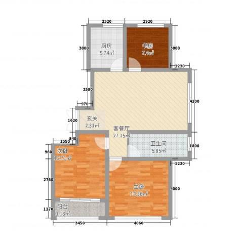 汽贸大厦3室1厅1卫1厨110.00㎡户型图