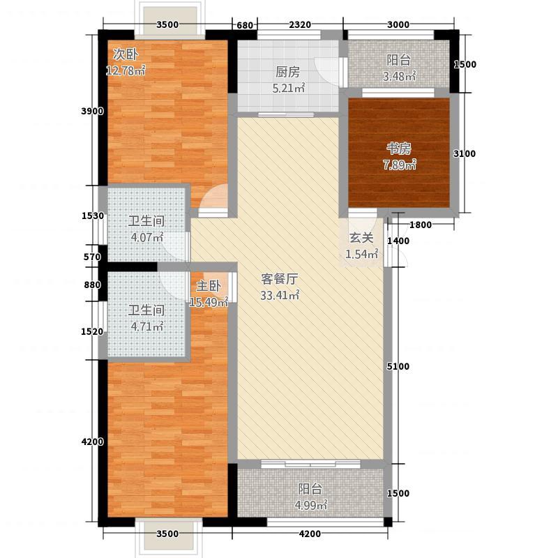 万年花城117.40㎡M1-1户型3室2厅2卫1厨