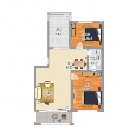 天泰新景温泉小区2室1厅1卫1厨106.00㎡户型图