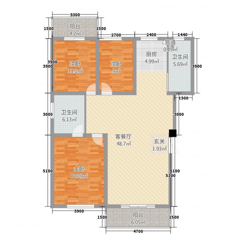 湘银嘉园138.60㎡户型3室2厅2卫1厨