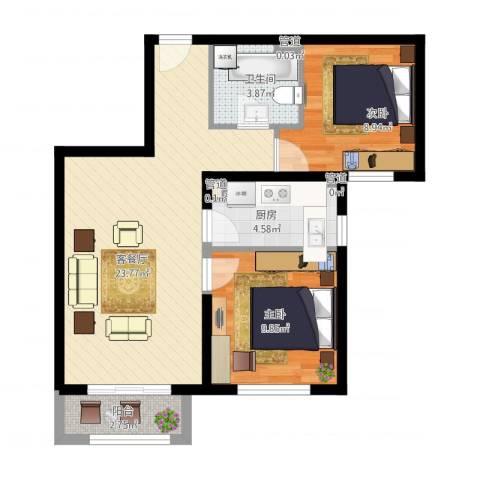 北京汇星苑2室1厅4卫1厨78.00㎡户型图