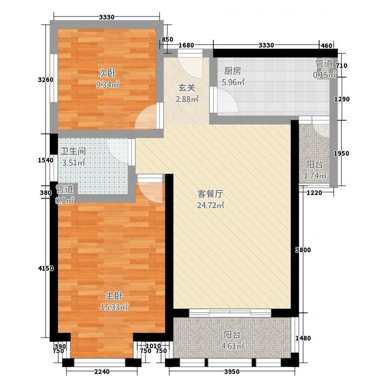 南亚风情第壹城8.00㎡E2户型2室2厅1卫1厨