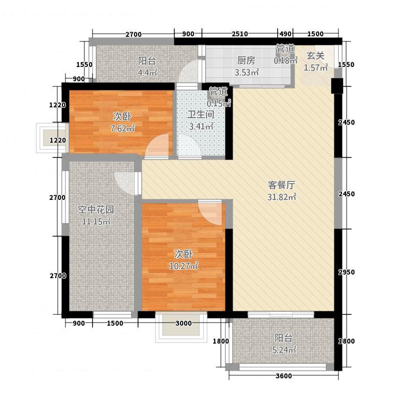 金色俊园2.00㎡LL1a户型2室2厅1卫1厨