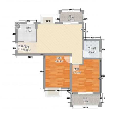 摩尔尚城2室1厅1卫1厨67.00㎡户型图