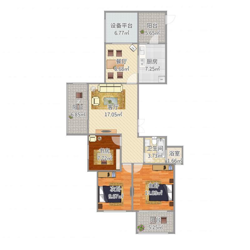 自在城2期三房两厅一卫118平
