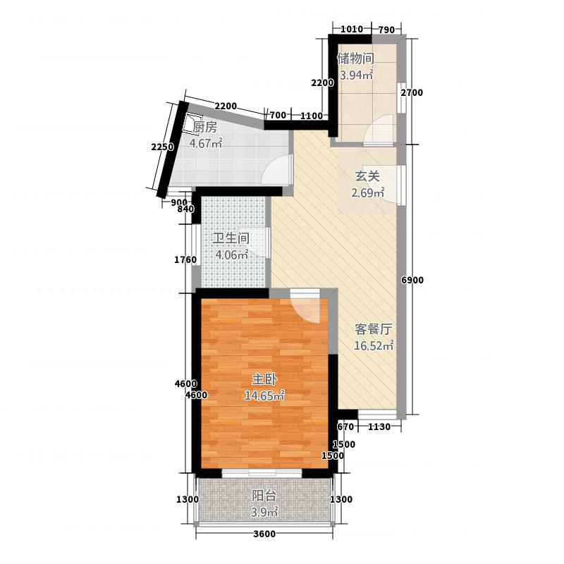 郑和国际7.00㎡一期01栋6层C-1户型1室1厅1卫1厨
