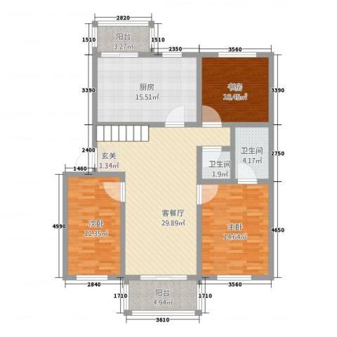 康安家园3室1厅2卫1厨97.13㎡户型图