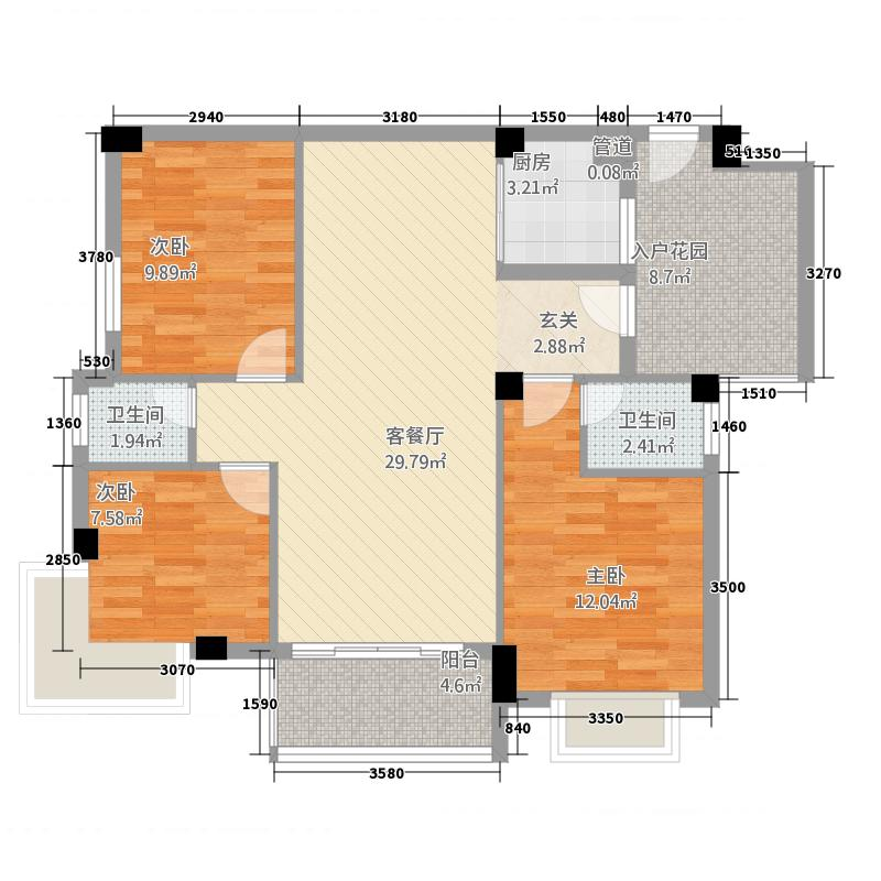 锦盈嘉园114.00㎡A2户型3室2厅2卫1厨