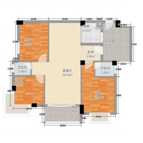 锦盈嘉园3室1厅2卫1厨114.00㎡户型图