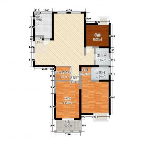 欧风新天地3室1厅2卫1厨142.00㎡户型图