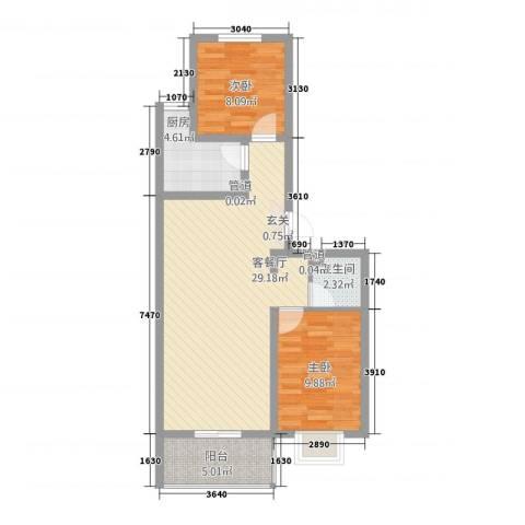城南春晓2室1厅1卫1厨82.00㎡户型图