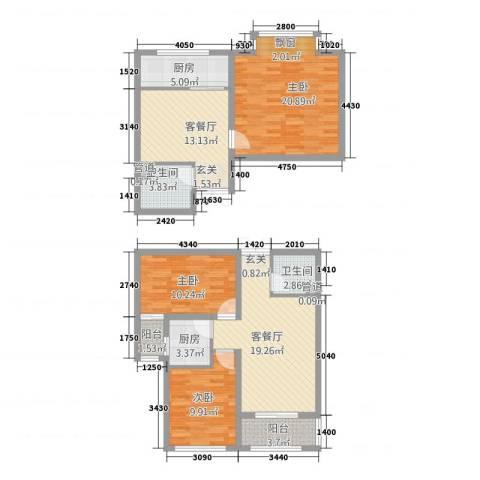 泰和・水岸嘉园3室2厅2卫2厨136.00㎡户型图