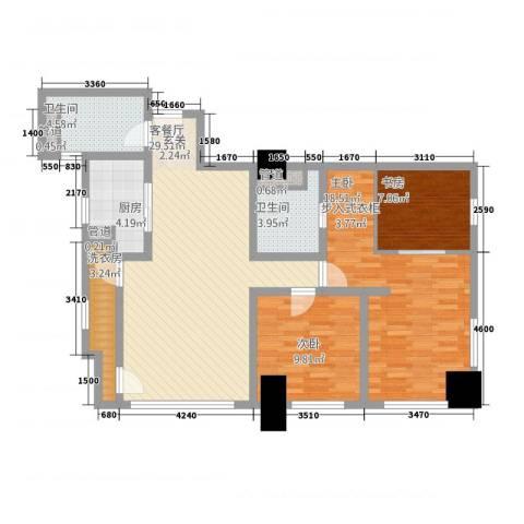 公园壹号国际公寓3室1厅2卫1厨97.47㎡户型图