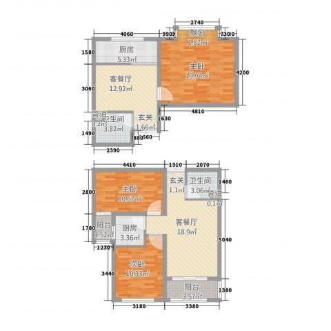 泰和・水岸嘉园3室2厅2卫2厨135.00㎡户型图