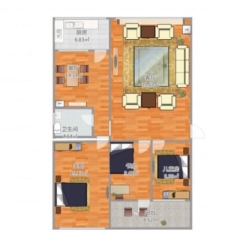 龙泉小区3室2厅1卫1厨148.00㎡户型图