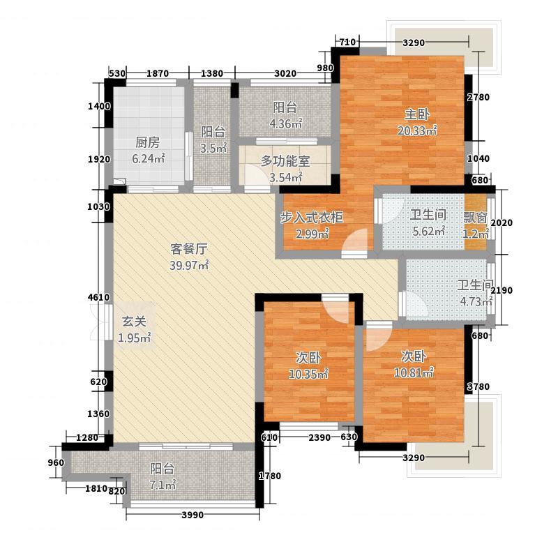 安厦酩悦湾146.00㎡8#楼202T-2户型4室2厅2卫1厨