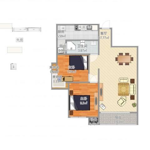军安卫士花园2室1厅1卫1厨84.00㎡户型图