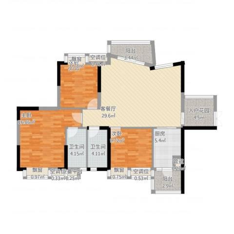 奥园金域3室1厅2卫1厨134.00㎡户型图