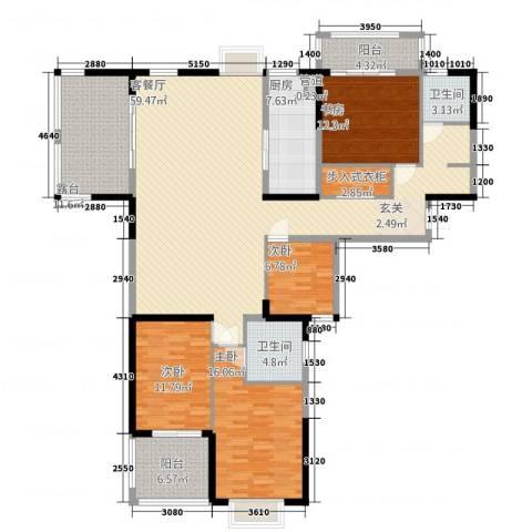 凯铂精品酒店4室1厅2卫1厨166.62㎡户型图
