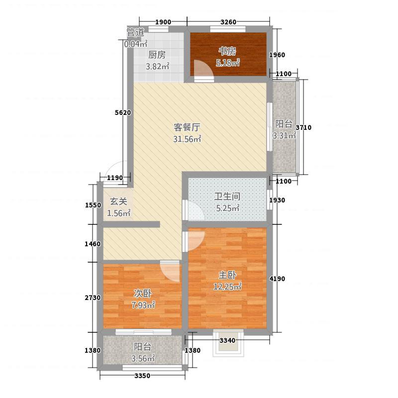 广枫名苑1.55㎡D户型3室2厅1卫1厨