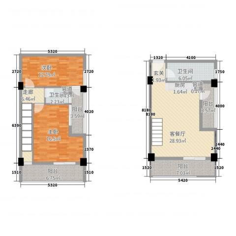 古越扬帆・城市广场2室1厅2卫0厨94.19㎡户型图
