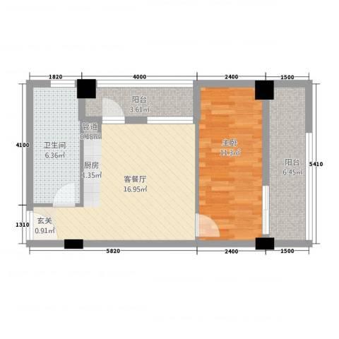 古越扬帆・城市广场1室1厅1卫0厨44.84㎡户型图
