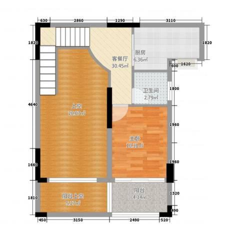嘉豪园二期1室1厅1卫1厨119.00㎡户型图