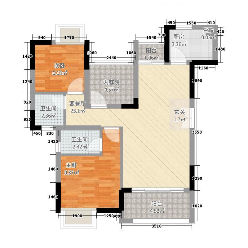 三水奥林匹克花园84.00㎡3、4栋02单元户型2室2厅1卫1厨