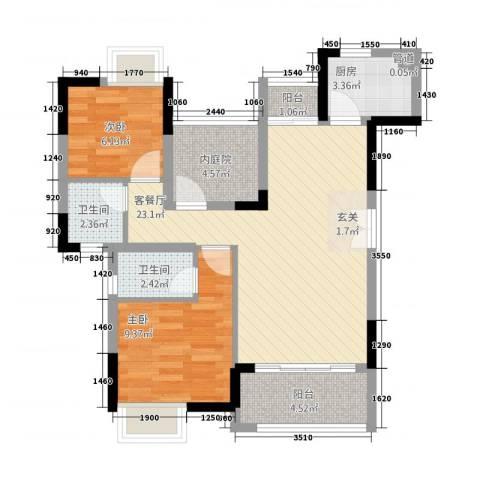 三水奥林匹克花园2室1厅2卫1厨84.00㎡户型图