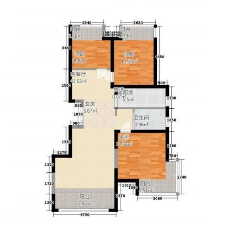 豪邦缇香公馆3室1厅1卫1厨125.00㎡户型图