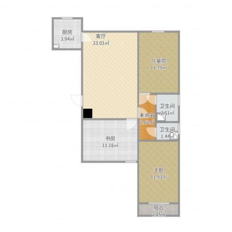 金隅地质家园3室1厅2卫1厨99.00㎡户型图