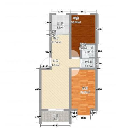 城南春晓2室1厅2卫1厨87.00㎡户型图