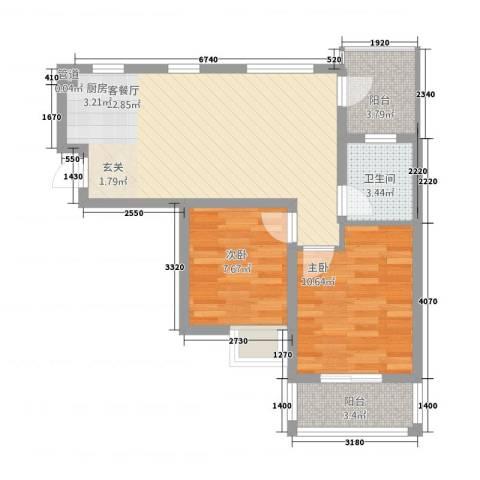 摩尔尚城2室1厅1卫0厨60.00㎡户型图