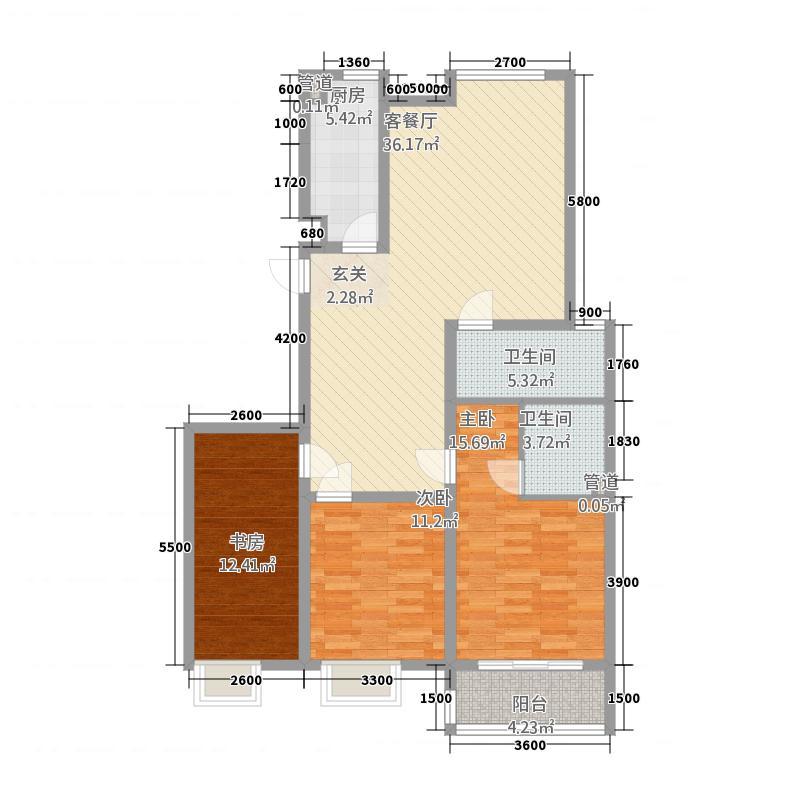 东城雅筑137.20㎡E户型3室2厅2卫1厨